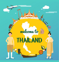 Welcome to thailand with traditional landmarks map vector