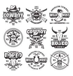 Wild west and cowboys vintage emblems vector