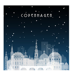 Winter night in copenhagen night city vector