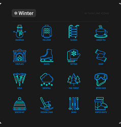 Winter thin line icons set fireplace skates vector