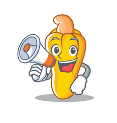 With megaphone cashew character cartoon style vector