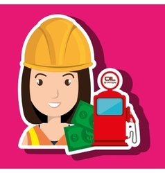 Woman with money and oil isolated icon design vector