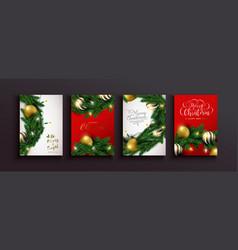year gold bauble xmas pine tree set vector image
