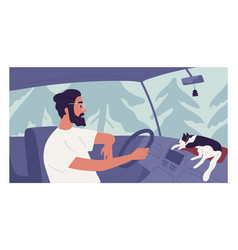 Young person driving car with happy cat lying vector