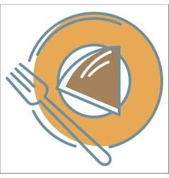 Cake on plate icon vector image vector image