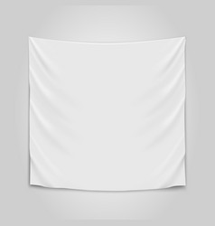 hanging empty white cloth blank flag concept vector image vector image