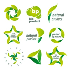 set of logos for organic natural products vector image vector image