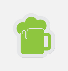 simple green icon - beer with foam vector image