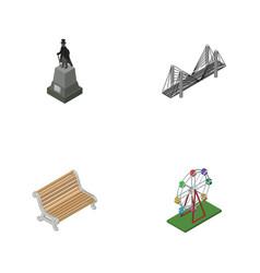 isometric urban set of recreation sculpture vector image vector image