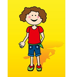 Little girl over yellow vector image