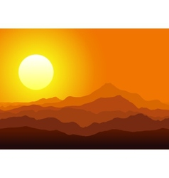 Sunset in the huge mountains vector image