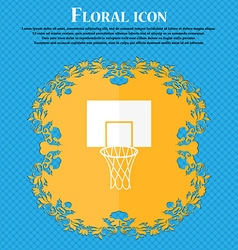 Basketball backboard icon Floral flat design on a vector image vector image