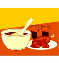 chicken and soup vector image