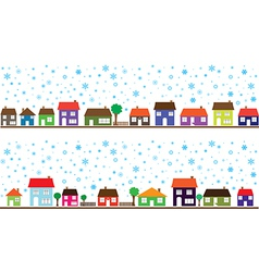 Colored neighborhood with snowflakes vector image