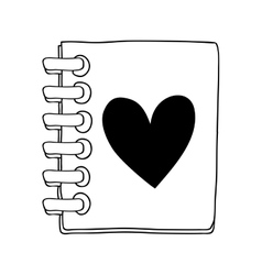 contour of the notebook of spiral with heart vector image vector image