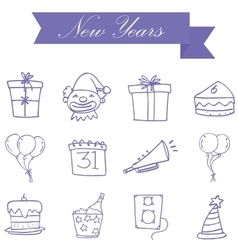 Purple icon new years collection stock vector image