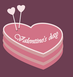a cake in the shape of a heart for valentine s day vector image