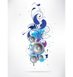 abstract music background with floral elements and vector image