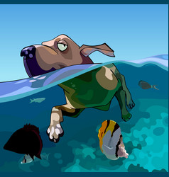 cartoon dog swims in the sea with fishes vector image