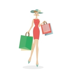 Girl in a hat with bags in hands after shopping vector image