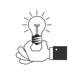 hand holding a light bulb icon vector image vector image