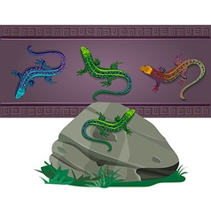 set of lizards of various colors vector image