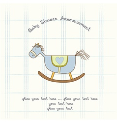 baby shower card with wood horse vector image