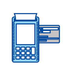 Blue contour of payment terminal with credit card vector
