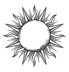 Bohemian hand drawn sun vector