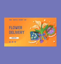 bouquet landing web page beautiful floral vector image