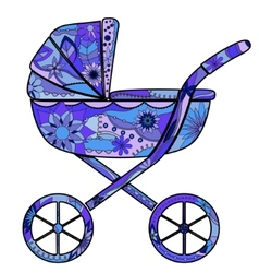 Boy baby carriage vector