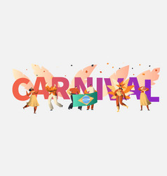 Brazil carnival party character dancer poster vector