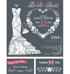 Bridal shower invitation templateBridal dress vector