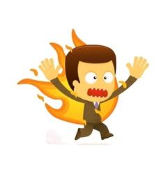 Businessman on fire vector