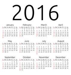Calendar 2016 sunday vector