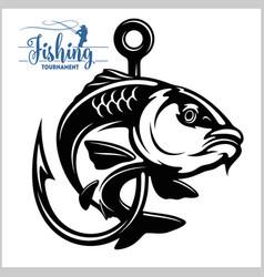 carp fish fishing club sign or emblem fisherman vector image