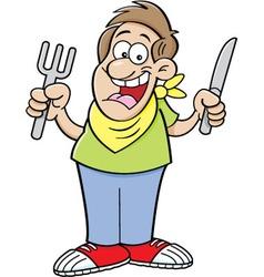 Cartoon hungry man vector