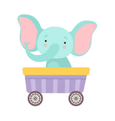 Cheerful red cheeked elephant driving toy wheeled vector