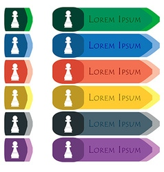 Chess Pawn icon sign Set of colorful bright long vector image