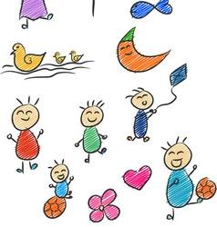Children Doodle 2 vector