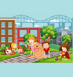 children with pet at the park vector image