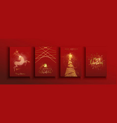 christmas and new year gold glitter luxury card vector image
