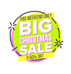 christmas big sale sticker cartoon sale vector image