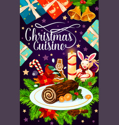 Christmas holiday gift and cake greeting card vector
