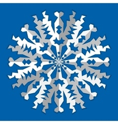 Christmas snowflake icon Paper cut out origami vector image