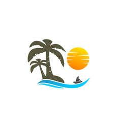 Coconut tree and sun logo vector