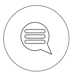 comments icon black color in circle isolated vector image