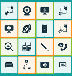 communication icons set with communications vector image