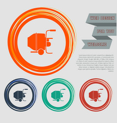 concrete mixer icon on the red blue green orange vector image
