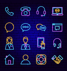 Contact us neon icons vector
